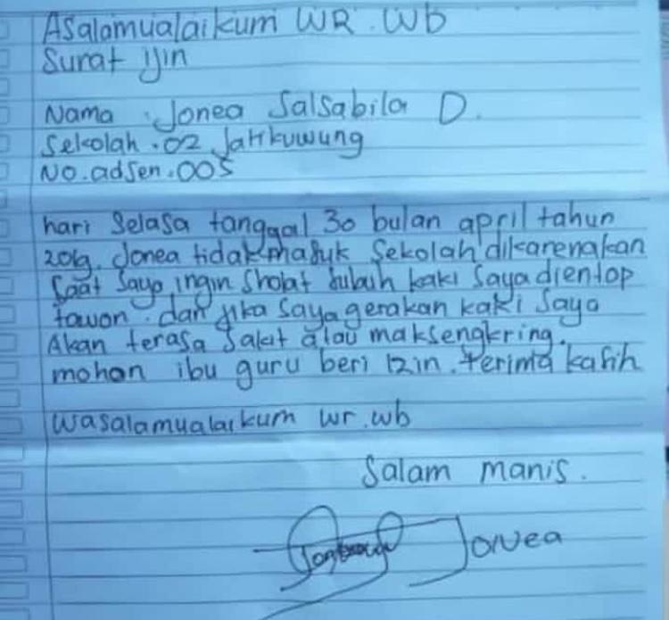 Viral Surat Izin Siswa Sd Tidak Masuk Sekolah Karena Dientop