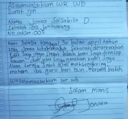 Viral Surat Izin Siswa Sd Tidak Masuk Sekolah Karena