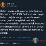Wasekjen Andi Arief : Setan Gundul Pemasok Kesesatan Prabowo, Demokrat Siap Pilih Jalan Sendiri