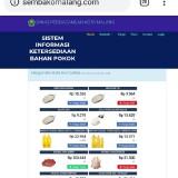 Sistem informasi ketersedian bahan pokok Disdag Kota Malang (Repro website)