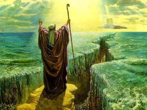 Ilustrasi peristiwa Laut Merah dibelah Nabi Musa.(Ist)