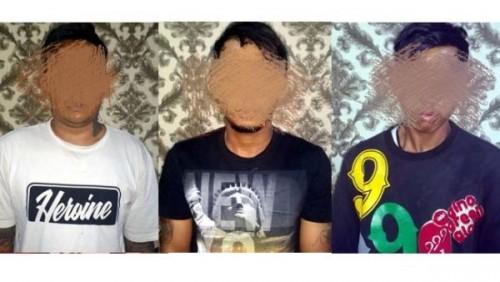 Tiga pelaku yang berhasil ditangkap (Satreskoba)
