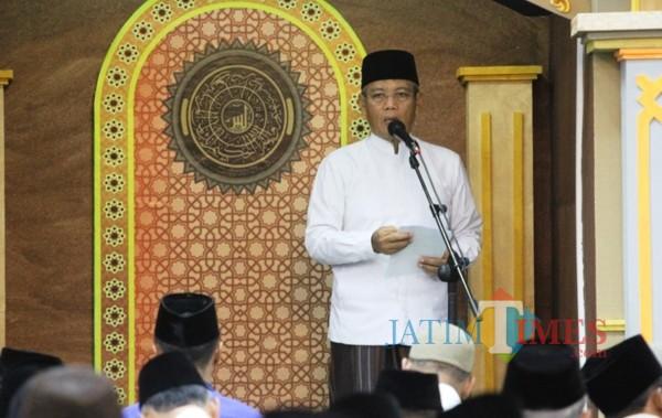 Wakil Bupati Kediri Masykuri Ikhsan saat memberikan sambutan. (eko Arif s/JatimTimes)