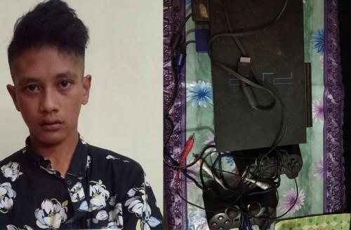 Ahmad Yusuf, tersangka penipuan dan penggelapan beserta barang bukti saat diamankan jajaran kepolisian. (Foto : Humas Polres Malang for MalangTIMES)