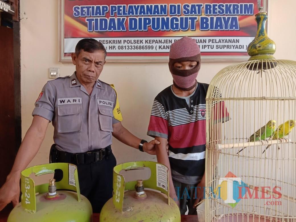 MAK tersangka beserta barang bukti hasil curian saat diamankan jajaran kepolisian, Kecamatan Kepanjen (Foto : Polsek Kepanjen for MalangTIMES)