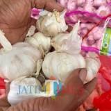 Bawang putih di pasar sayur Kota Batu. (Foto: Irsya Richa/MalangTIMES)