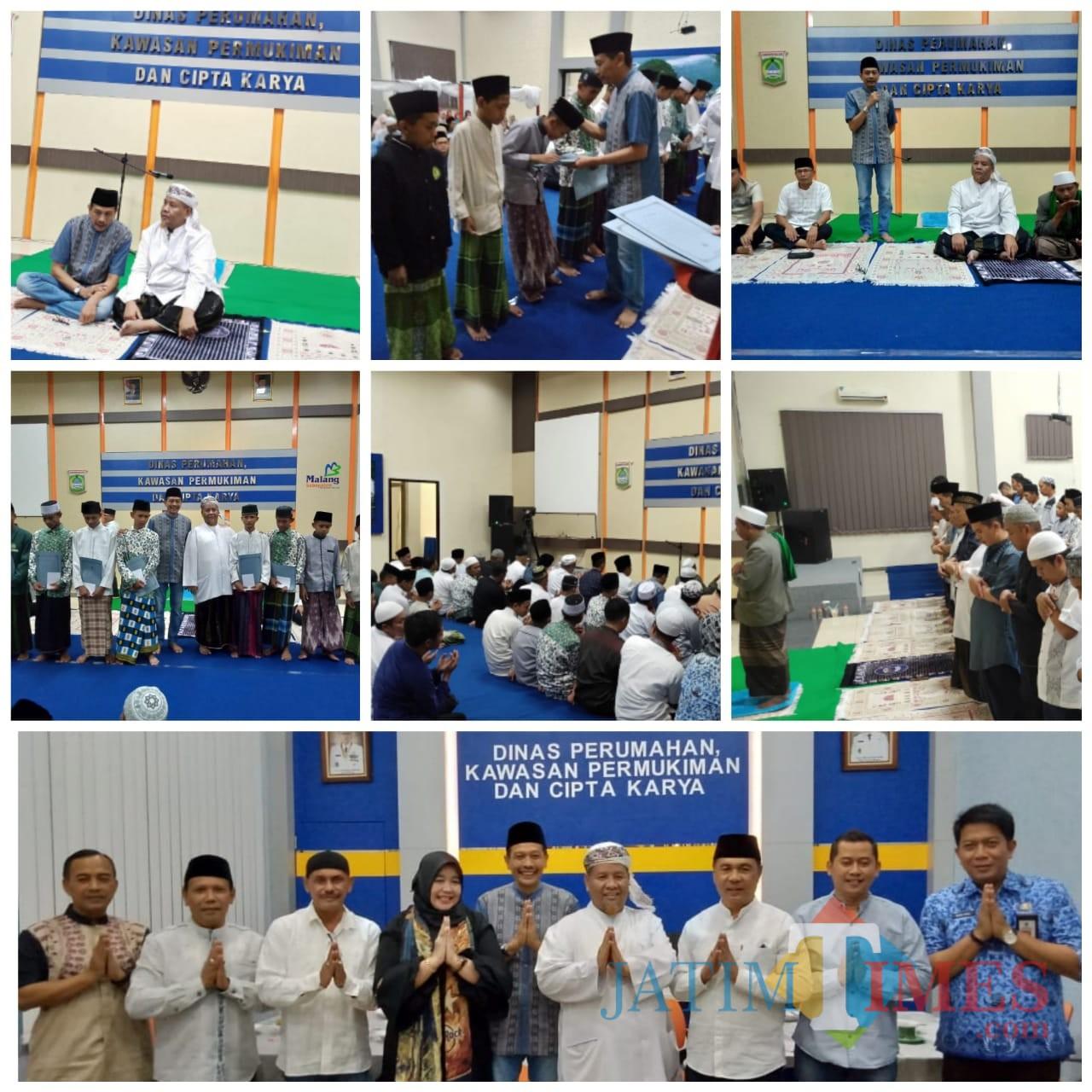 Kolase acara buka bersama dan santunan anak yatim di kantor DPKPCK Kabupaten Malang. (Wahyu for MalangTIMES)