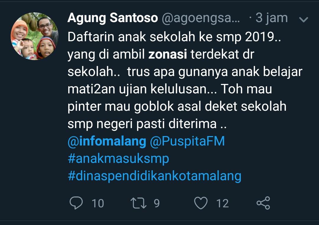 Salah satu cuitan warganet mengenai PPDB 2019 di Twitter. (Foto: Twitter)
