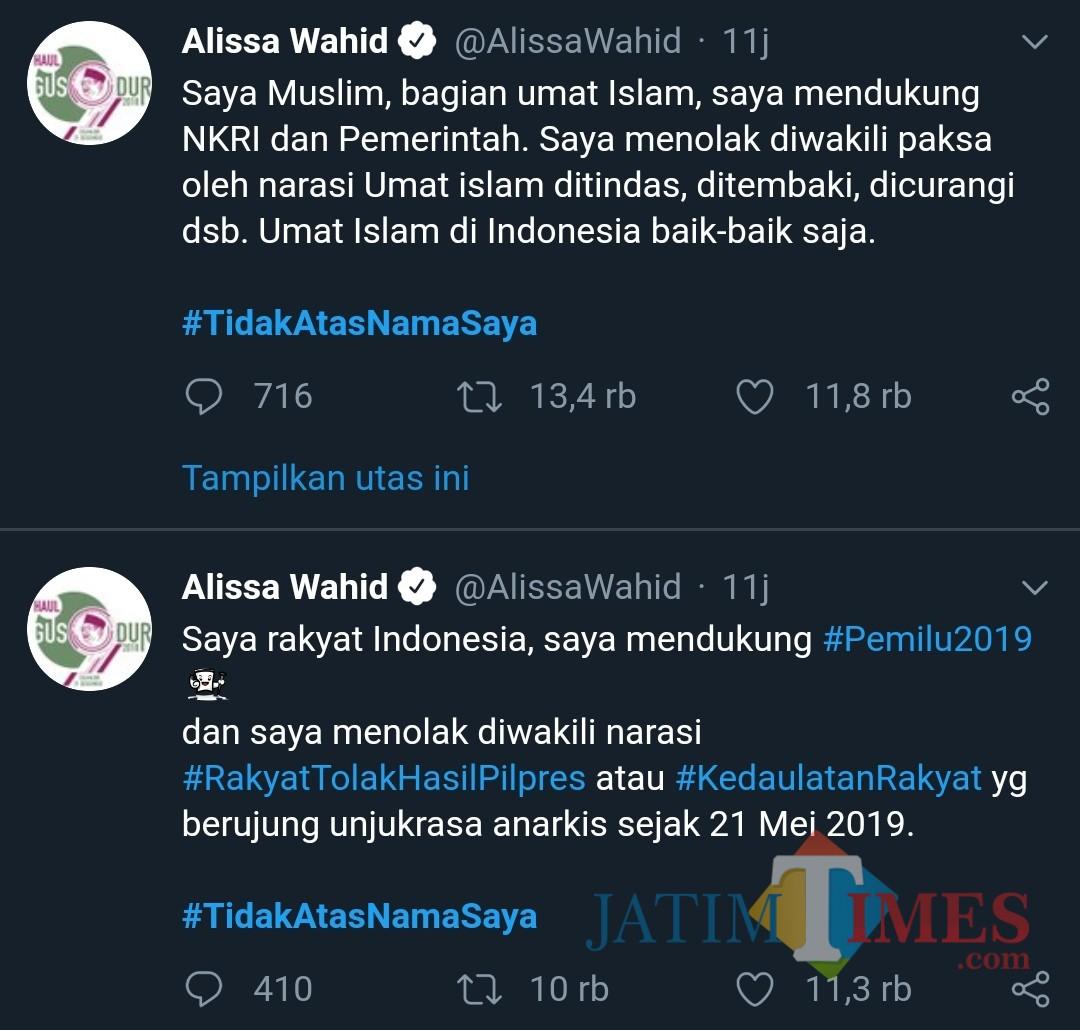 Tagar #TidakAtasNamaSaya menggelora di medsos Twitter. (@alissawahid)
