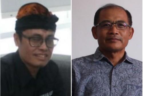 Ketua PHDI Kabupaten Kediri Kadek Astrawan (kiri) dan  Ketua BAMAG Kabupaten Kediri Pendeta Yermia Puryanto (kanan). Foto (Ist)
