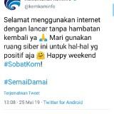 Cuitan akun twitter Kominfo (@kemkominfo)