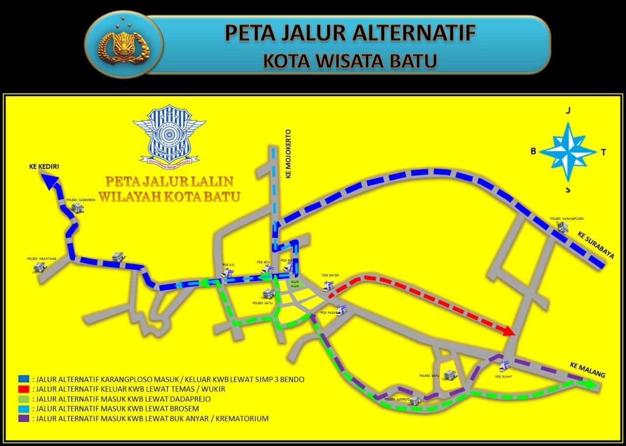 Peta jalur alternatif wisata yang dikeluarkan oleh Satlantas Polres Batu.