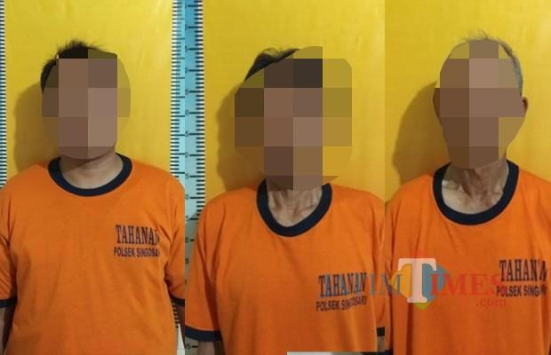 Subari, Rais, Saeran, dan Suwono keempat pelaku judi saat diamankan polisi, Kecamatan Singosari (Foto : Humas Polres Malang for MalangTIMES)