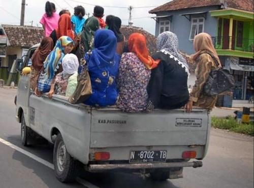 Mobil bak terbuka dilarang mengangkut orang apalagi untuk moda transpot mudik (Ist)