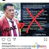 Postingan Hotman terkait hoax yang mengatasnamakan dirinya (@hotmanparisofficial)
