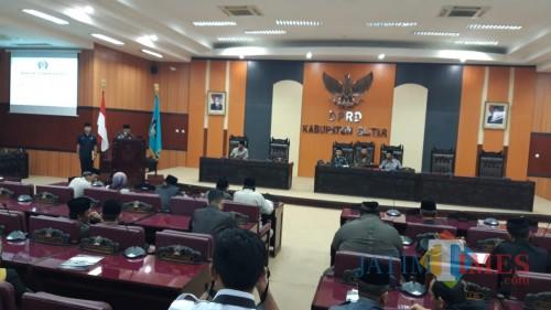 Rapat Paripurna digelar di ruang rapat DPRD Kabupaten Blitar