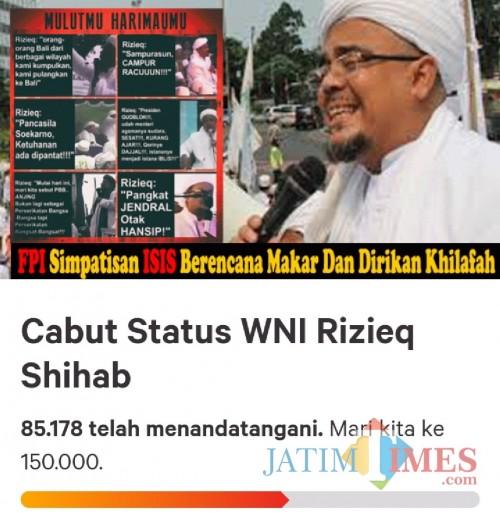 Screenshot petisi cabut WNI Rizieq Shihab, Senin (10/06/2019) (change.org)