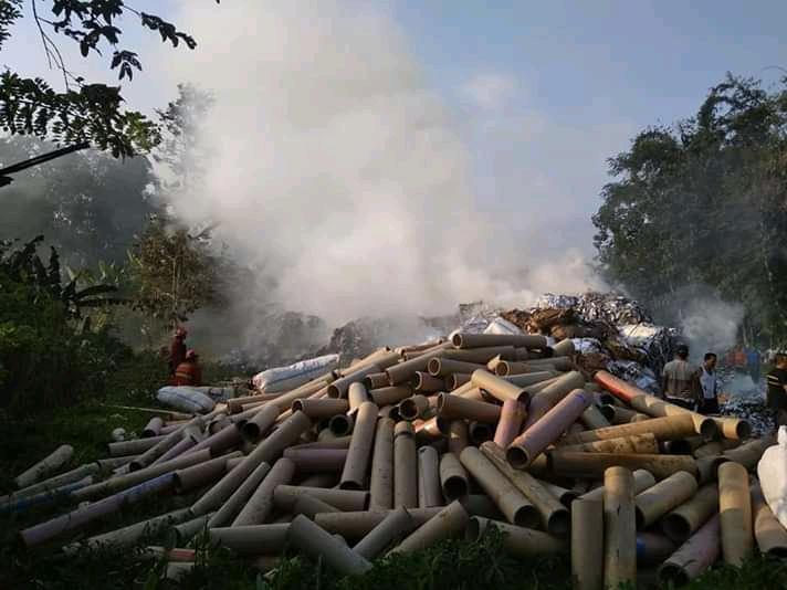 Kejadian kebakaran yang terjadi di Jalan Tutut, Arjowinangun, Kedungkandang, Kota Malang kemarin (10/6/2019)(ist)