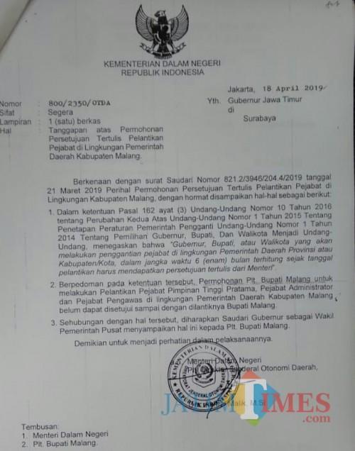Surat Kemendagri terkait penolakan permohonan pelantikan pejabat di Pemkab Malang oleh Plt Bupati Malang Sanusi. (for MalangTIMES)