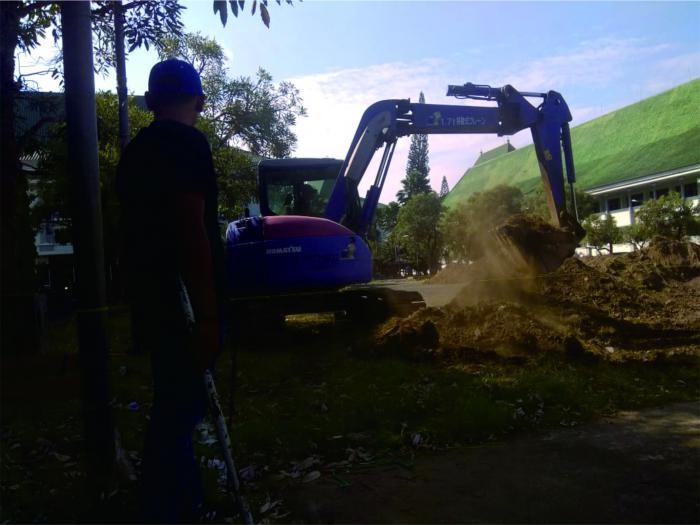 Pembangunan lapangan untuk PIONIR 2019 di UIN Malang. (Foto: Humas)