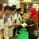 Gubernur Jatim Khofifah saat acara halal bihalal dengan Disdik Jatim