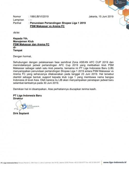 Surat penundaan pertandingan dari LIB antara tuan rumah PSM Makassar melawan Arema FC (istimewa)