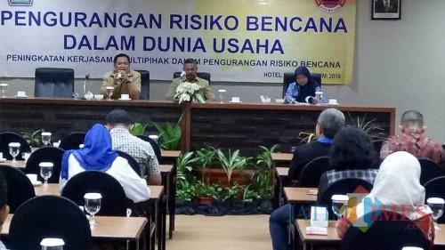 Kegiatan sosialisasi tanggap darurat bencana pada kalangan pengusaha oleh BPBD Kota Malang. (Foto: Nurlayla Ratri/MalangTIMES)