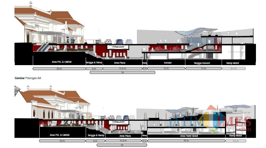 Desain basement Alun-alun Suroboyo