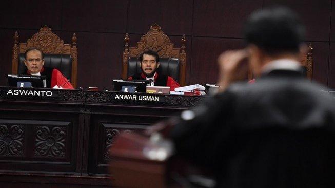 Ilustrasi suasana sidang lanjutan sengketa Pilpres 2019 di Mahkamah Konstitusi. (Antara)