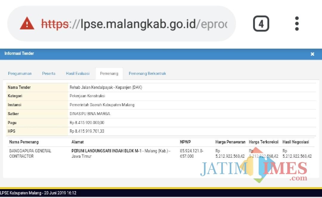 Screenshot harga lelang di bawah HPS proyek konstruksi di Dinas PU Bina Marga Kabupaten Malang (LPSE kab malang)