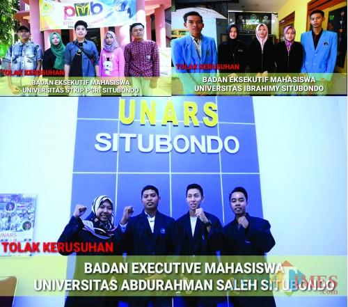 Tiga BEM perguruan tinggi di Situbondo. (Foto Heru Hartanto/Situbondo TIMES)