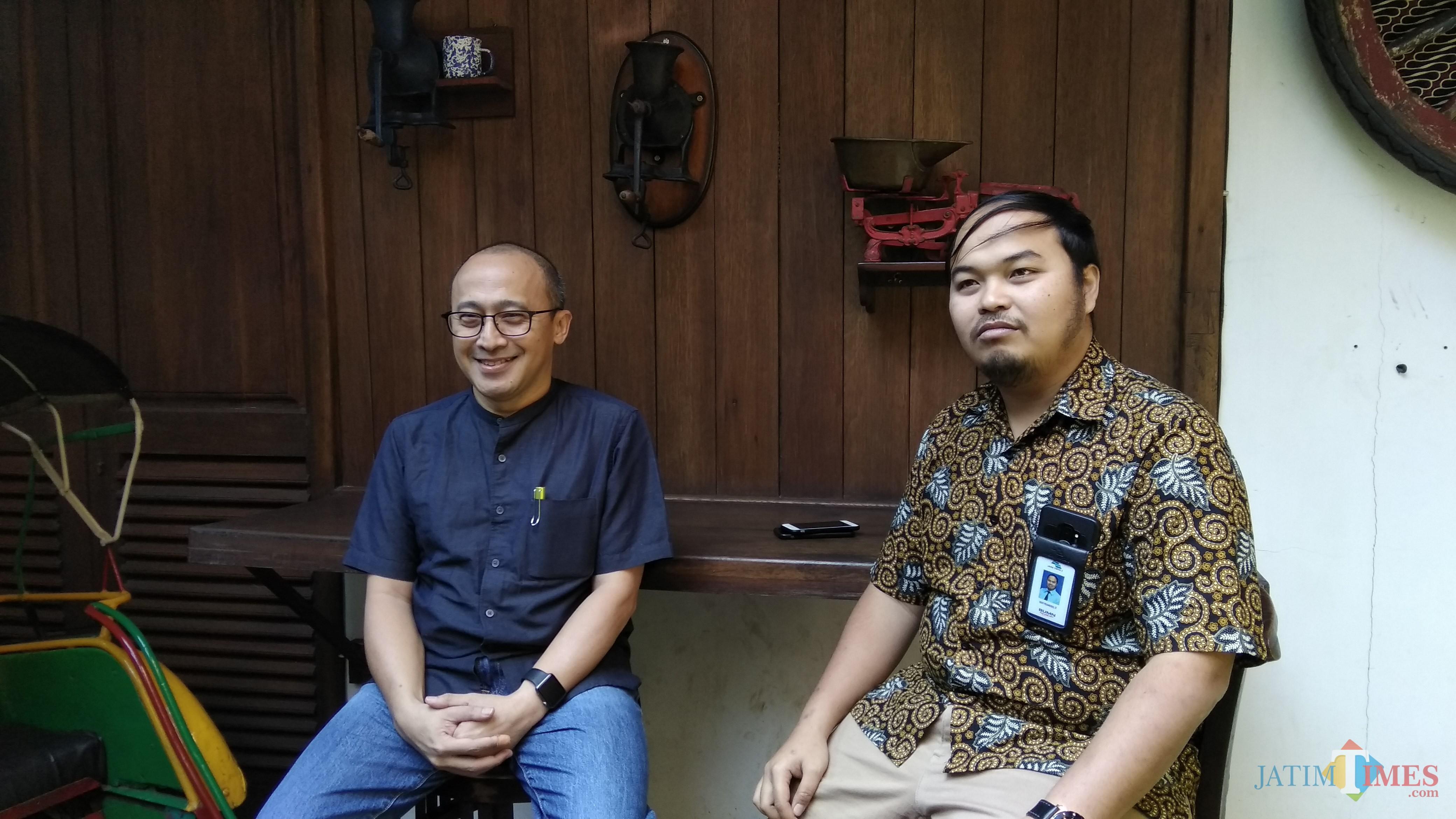 Direktur Utama PJT I Raymond Valiant Ruritan (kiri) saat menemui awak media di Malang. (Foto: Nurlayla Ratri/MalangTIMES)