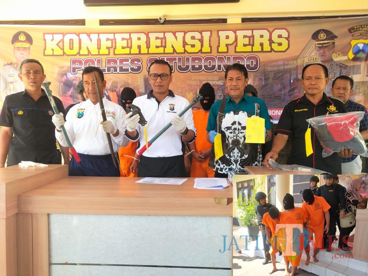 Kapolres Situbondo gelar konferensi pers penangkapan perampok asal Magelang. (Foto Heru Hartanto/Situbondo TIMES)