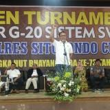 AKBP. Awan Hariono saat membuka Open Turnamen G-20 Sistem Swiss Kapolres Situbondo Cup 1 (Foto Heru Hartanto / Situbondo TIMES)