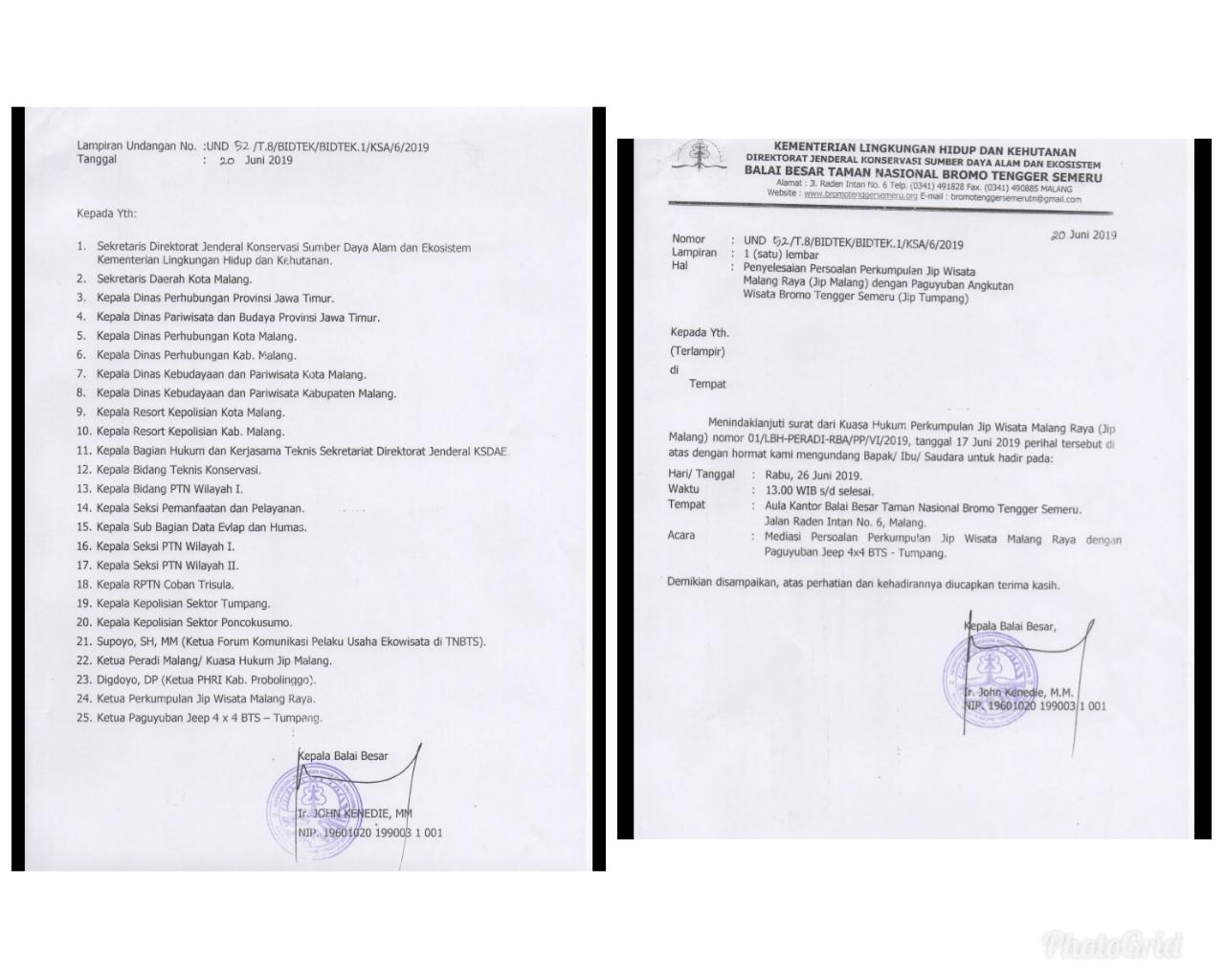 Surat undangan mediasi di BB TNBTS (ist)