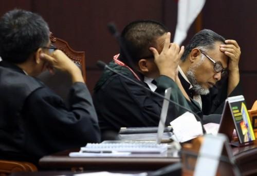 Ekspresi tim kuasa hukum Prabowo-Sandiaga (Agung Pambudy/detik com)