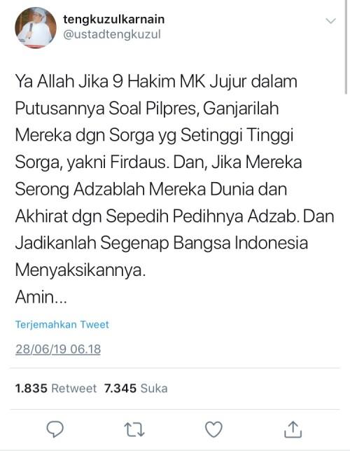 Cuitan doaUstad Tengku Zulkarnain di Twitter.