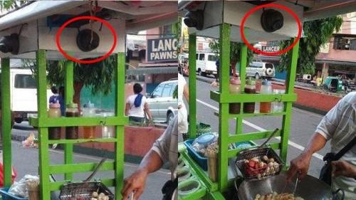 Gerobak gorengan yang terpasang CCTV di Filipina. (Foto: istimewa)