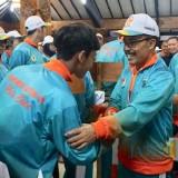 Wakil Wali Kota Batu Punjul Santoso saat memberikan semangat kepada atlet Kota Batu di�Pendopo Rumah Dinas Wali Kota Batu.