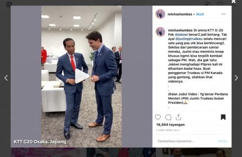 Momenkeakraban Presiden Joko Widodo (Jokowi) dengan Perdana Menteri (PM) Kanada Justin Trudeau. (Foto: instagram@michaelumbas)