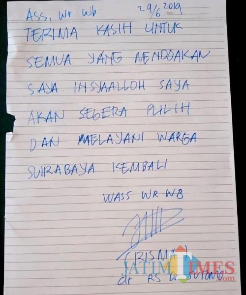 Screenshot surat pernyataan terimakasih Risma Walikota Surabaya yang mendapat respon warganet