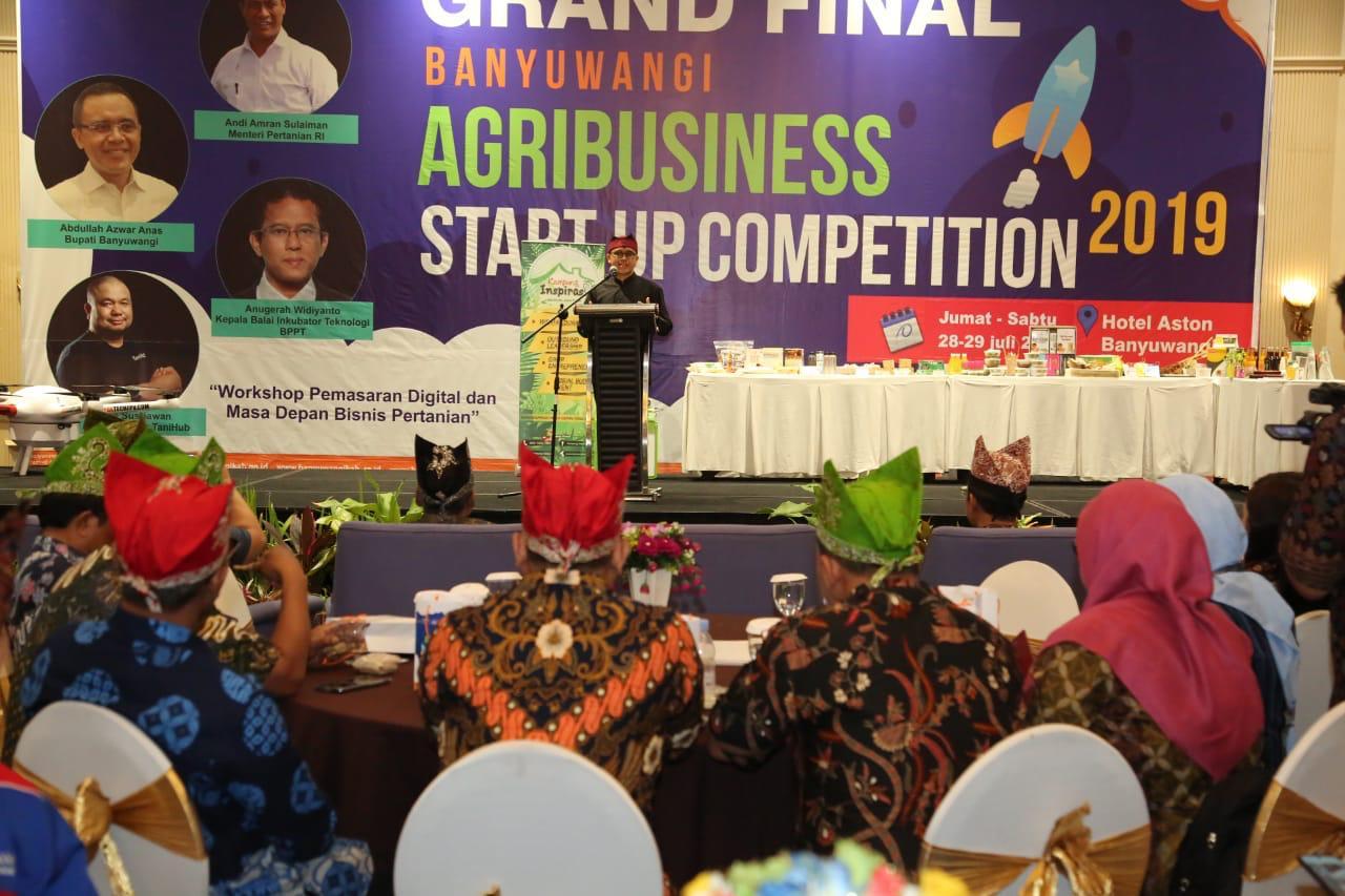 Bupati Banyuwangi Abdullah Azwar Anas saat grand final Agribusiness Startup competition