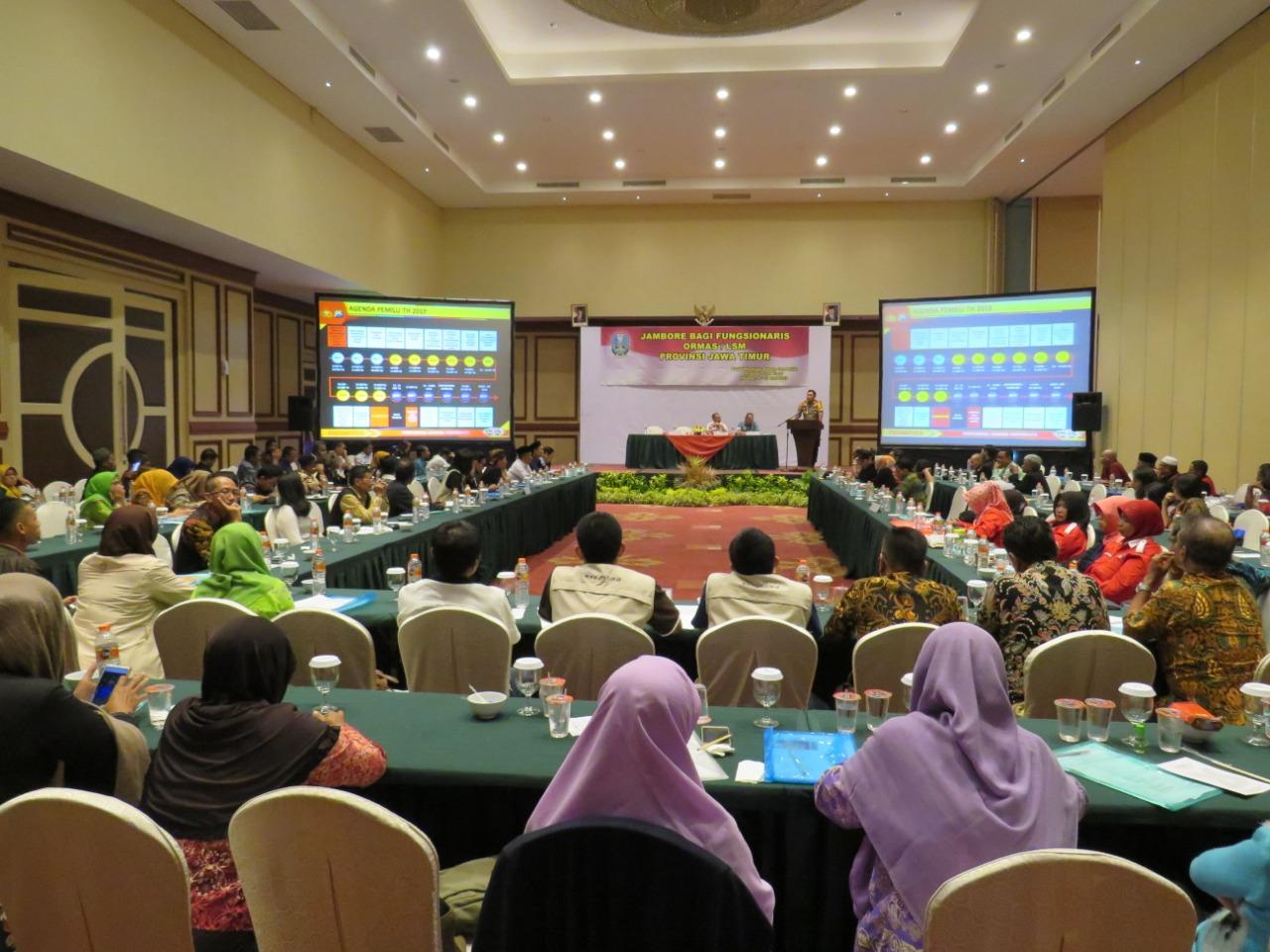 Jambore fungsionaris LSM dan ormas yang digelar Bakesbangpol Provinsi Jatim di Ijen Suites. (Istimewa).