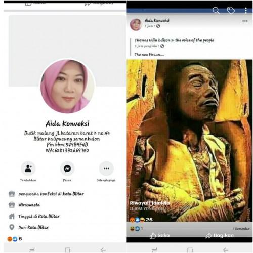 Postingan dugaan penghinaan lambang negara oleh Akun FB Aida Konveksi