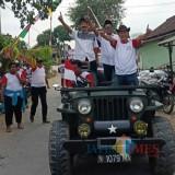 Trimo Wododo SH beserta 500 an kader kampanye dengan keliling desa Pojok Campurdarat / Foto : Anang Basso / Tulungagung TIMES