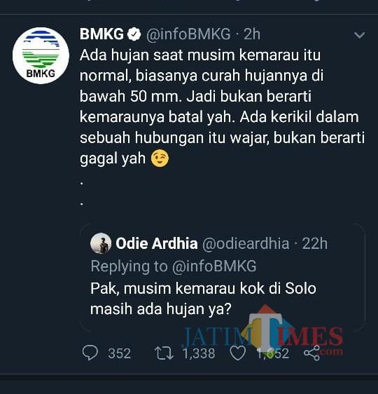Cuitan akun Twitter resmi BMKG yang mengundang beragam respons warganet. (Foto: Dokumen MalangTIMES)