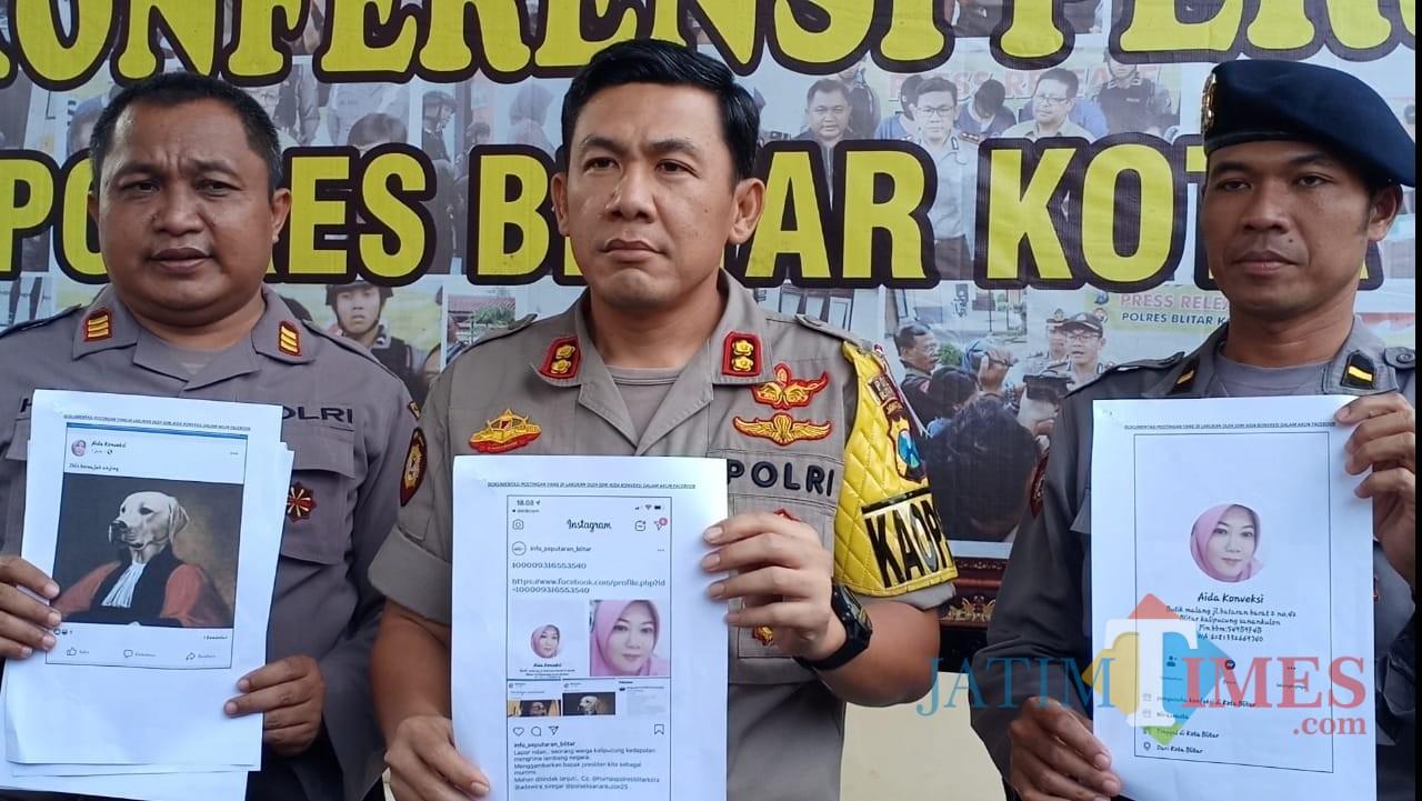 Polisi menunjukkan postingan pelaku Aida Konveksi.