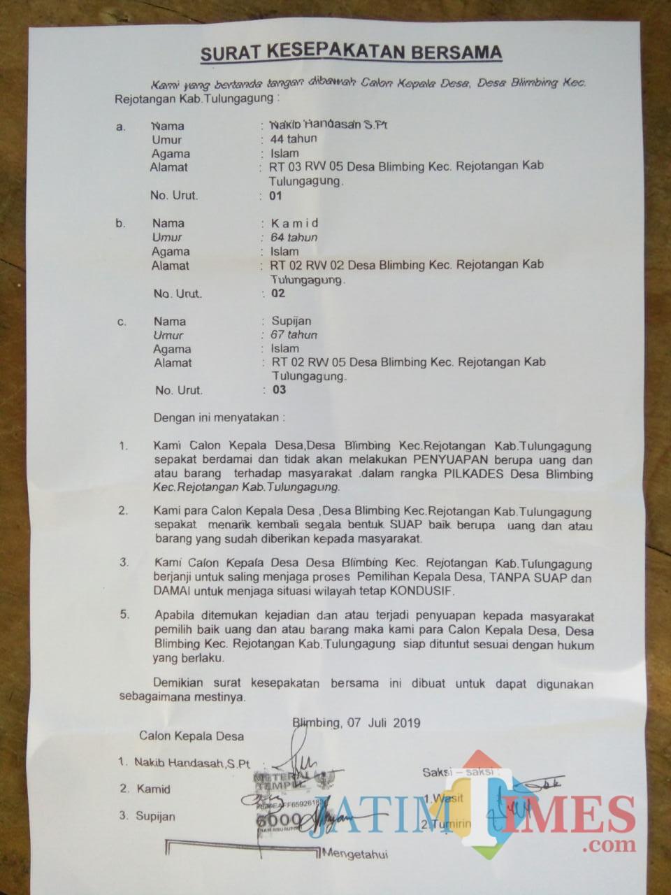 Surat pernyataan damai yang ditandatangani tiga calon kepala desa Blimbing (Foto : Istimewa / TulungagungTIMES)
