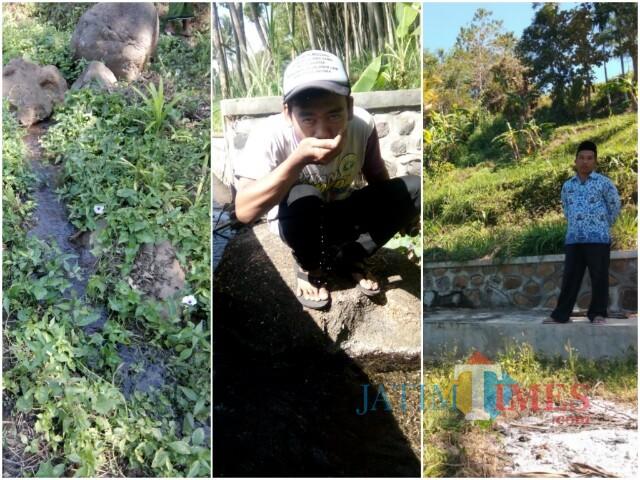 Tiga sumber air yang ditunjukkan warga dan pejabat desa (Foto: Indra Setiawan/BondowosoTIMES)