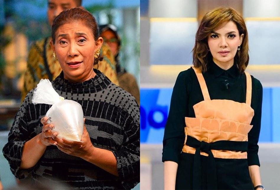 Menteri Kelautan dan Perikanan dari Kabinet Kerja 2014-2019 Susi Pudjiastuti dan Jurnalis Indonesia Najwa Shihab perempuan dikagumi di Indonesia. (Foto: Istimewa)